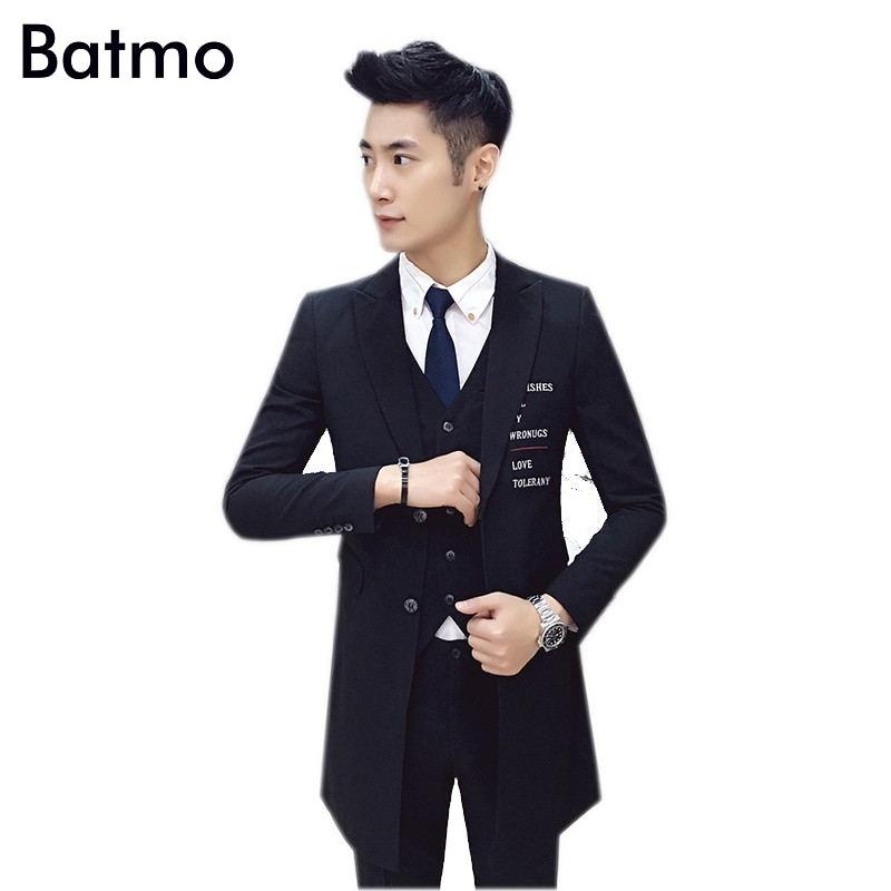 2016 new arrival high quality printed letter skinny black mens suits,long suits men,printed long blazer men size M,L,XL,XXL