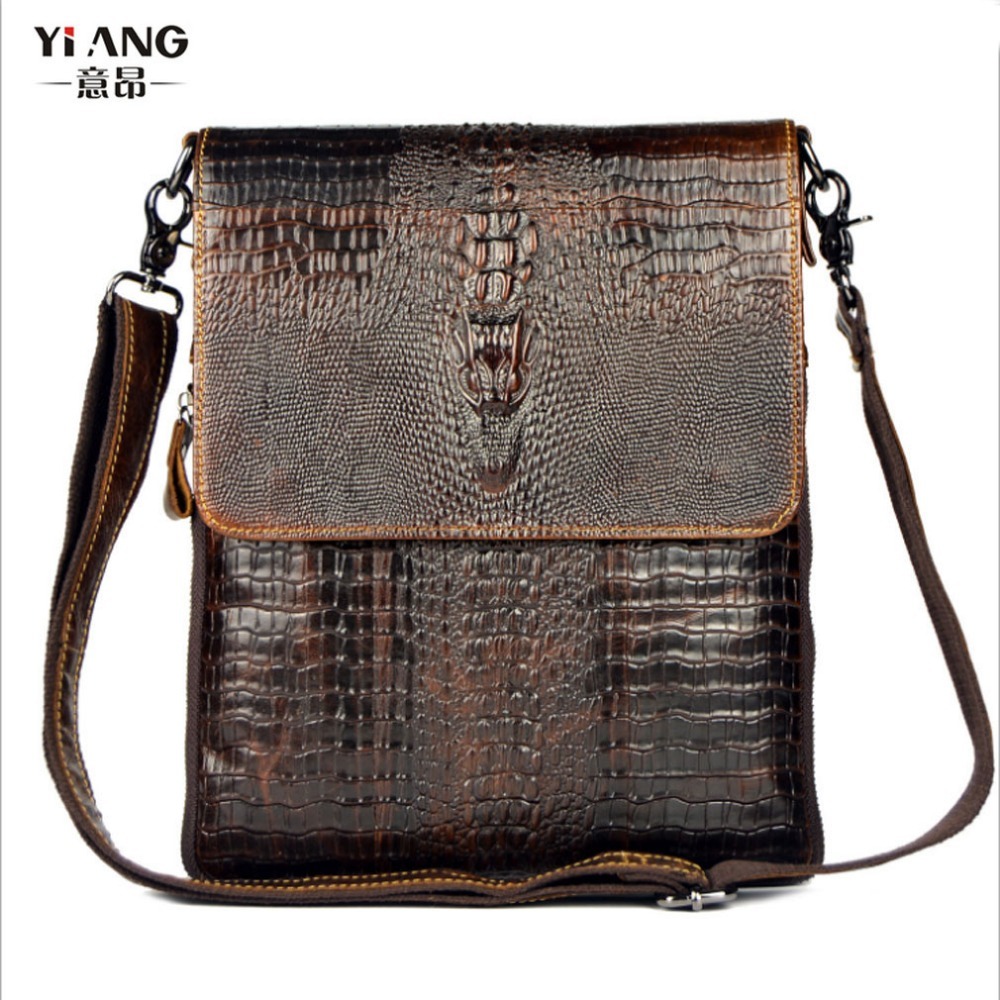 New Men Genuine Leather Cowhide Crocodile Patterns Vintage Cross Body Bag Messenger Shoulder Business Casual Bags new casual business leather mens messenger bag hot sell famous brand design leather men bag vintage fashion mens cross body bag