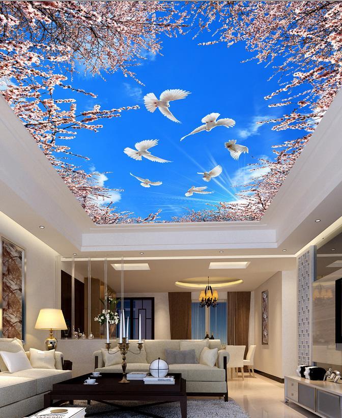 Wallpaper Mural Photo Wallpaper Cherry Blue Sky Ceiling 3d