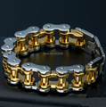 2014 new exquisite golden bicycle stainless steel bracelet for men (length: 23cm, width: 22mm weight: 178g)