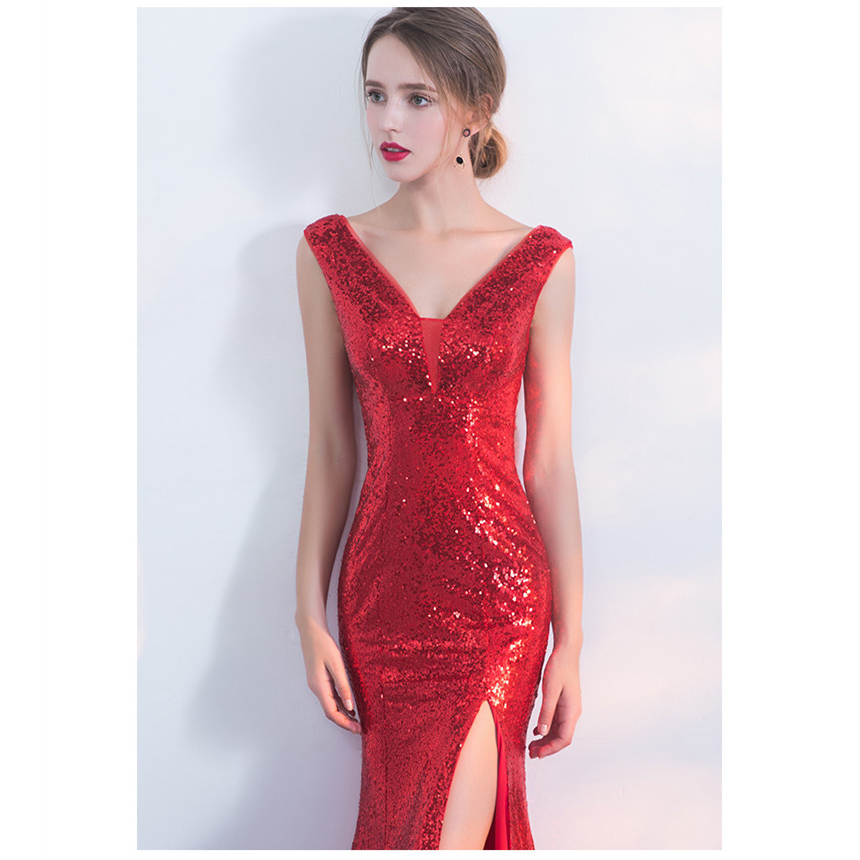 Aliexpress.com   Buy CEEWHY Vestido de Festa Longo Red Evening Dress Luxury  Long Sequin Mermaid Evening Gowns Sleeveless Prom Party Formal Dresses from  ... 8e8fcaa193bc