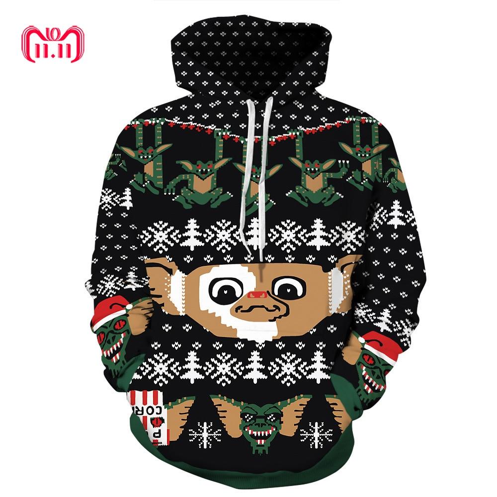 Harajuku Santa Monster pattern Christmas 3D Digital Print Streetwear mens Sweater Hip Hop Women Pull Christmas Sweater Couple(China)