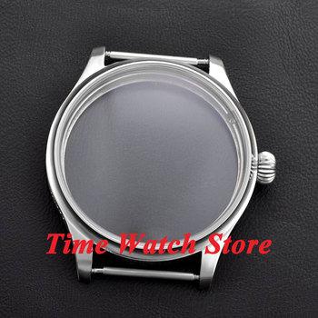 Parnis 44 millimetri Spazzolato guarda caso di zucca corona in acciaio inox Fit ETA 6497 6498 movimento C08
