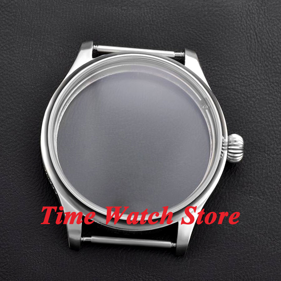 Parnis 44mm Brushed Watch Case Pumpkin Crown Stainless Steel Fit ETA 6497 6498 Movement C08