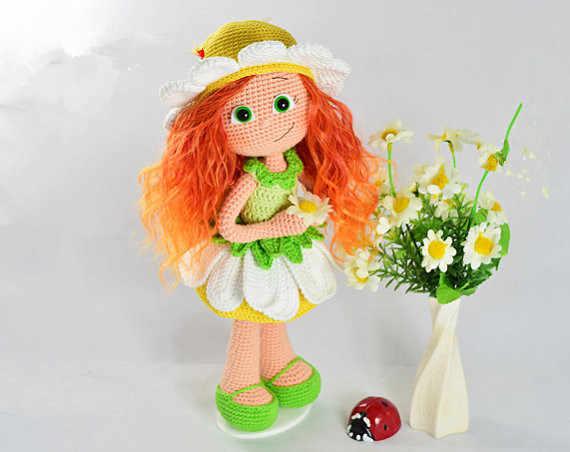 Кукла-погремушка в цветочек Amigurumi вязаный крючком именем han