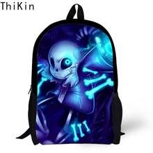 THIKIN Kids School Bag Backpack Anime Undertale Sans Frisk Chara Printed Boys Student Polyester Book for Girls