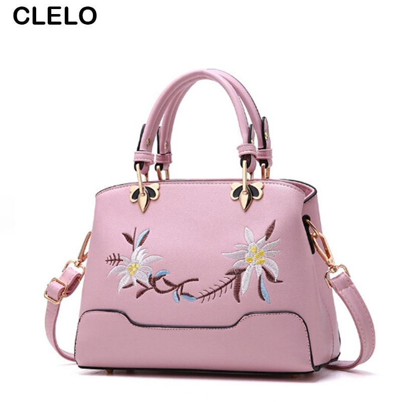 CLELO Vintage Embroidery Flower Handbags Women Pu Leather Shoulder Bag Female Small Elegant Bags For Girls Functional Handbag