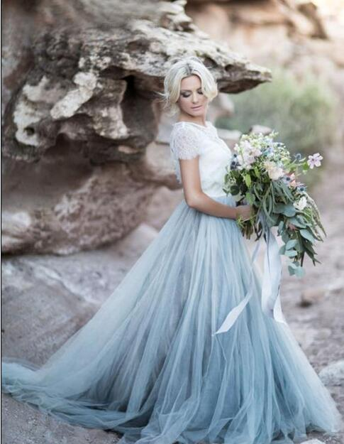 Silver Tulle Wedding Dress