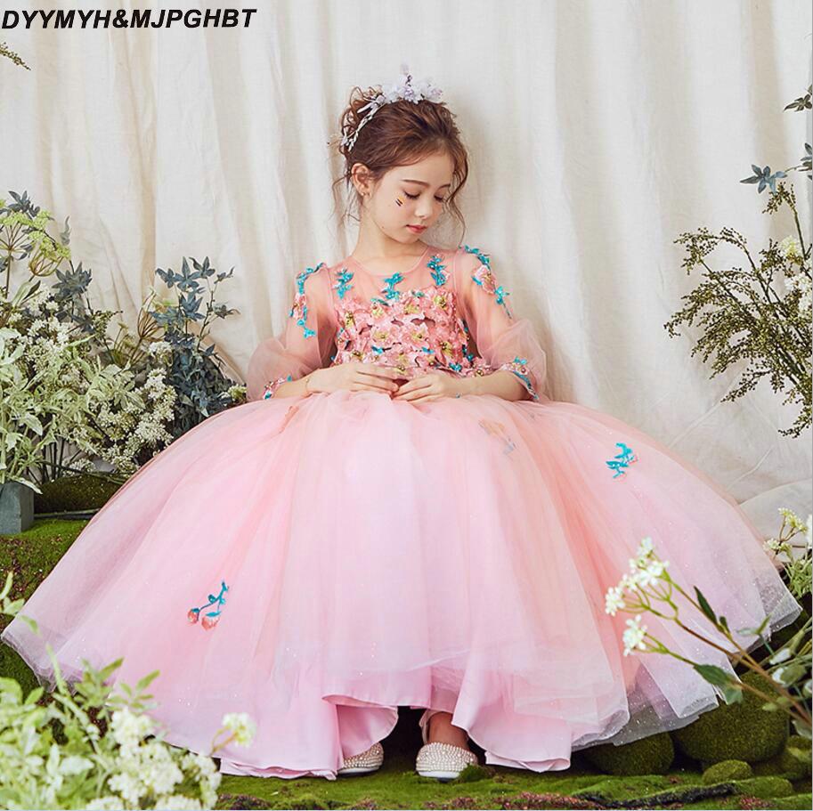 Baby Pink Обувь для девочек Нарядные платья с рукавом три четверти красочные аппликации ботильоны Длина бальное платье для девочек в цветочек п