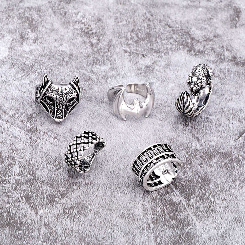 1PC Punk Vintage Silver Fox Owl Open Ring Women Men Anillo Jewelry Gothic Hollow Carving Totem Abacus Animal Finger Ring R3