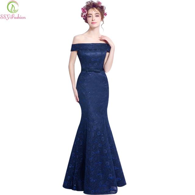 Blue Fishtail Evening Dress