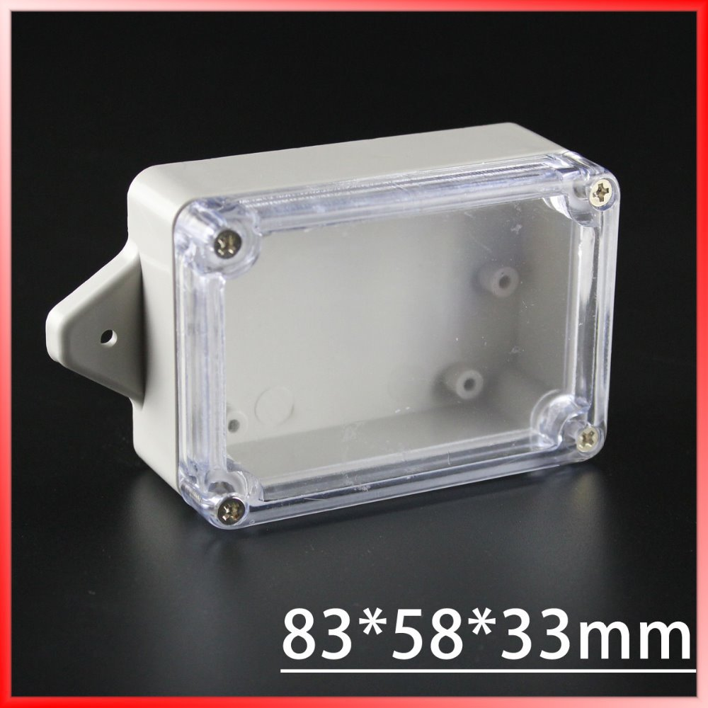 (1 piece/lot) 83*58*33mm Clear ABS Plastic IP65 Waterproof Enclosure PVC Junction Box Electronic Project Instrument Case 65 95 55mm waterproof case