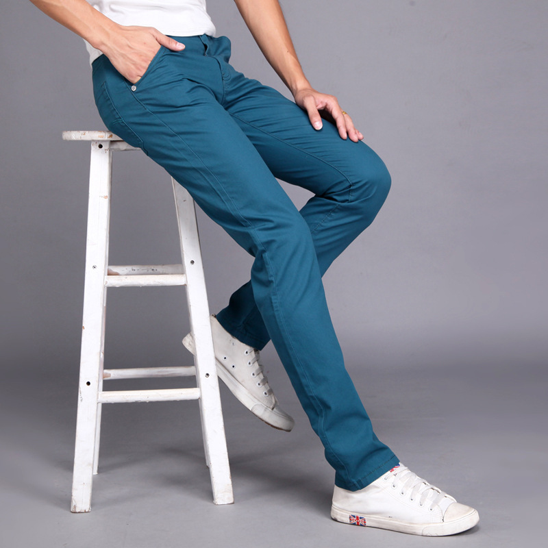 Men Casual Pants spring summer New Fashion 2019 multi color Slim long pants Straight  Male Pocket men's trousers pantalon hombre(China)