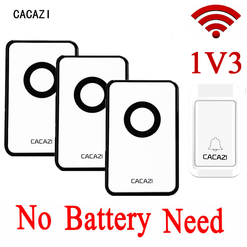CACAZI Touch EU/US/UK Plug-in Doorbell Wireless Door Bell Waterproof Digital Bell Ring 1 Button +2 Indoor Receiver No Battery cacazi ac 110 220v wireless doorbell 1 transmitter 6 receivers eu us uk plug 300m remote door bell 3 volume 38 rings door chime