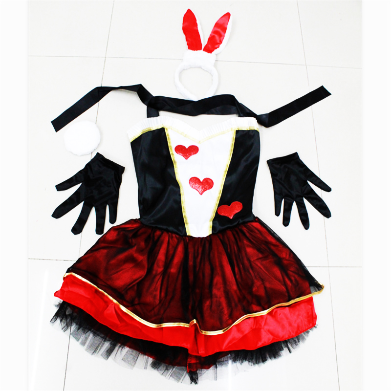 new high quality Red Heart Bunny girl dress <font><b>Alice</b></font> <font><b>in</b></font> <font><b>Wonderland</b></font> Cosplay <font><b>Costume</b></font> <font><b>Sexy</b></font> Bunny Roleplay <font><b>Costumes</b></font> Halloween for Women image