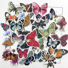 31pcs Hand drawing Butterfly thin Paper Stickers Crafts And Scrapbooking Decorative Sticker Lovely DIY Stationery