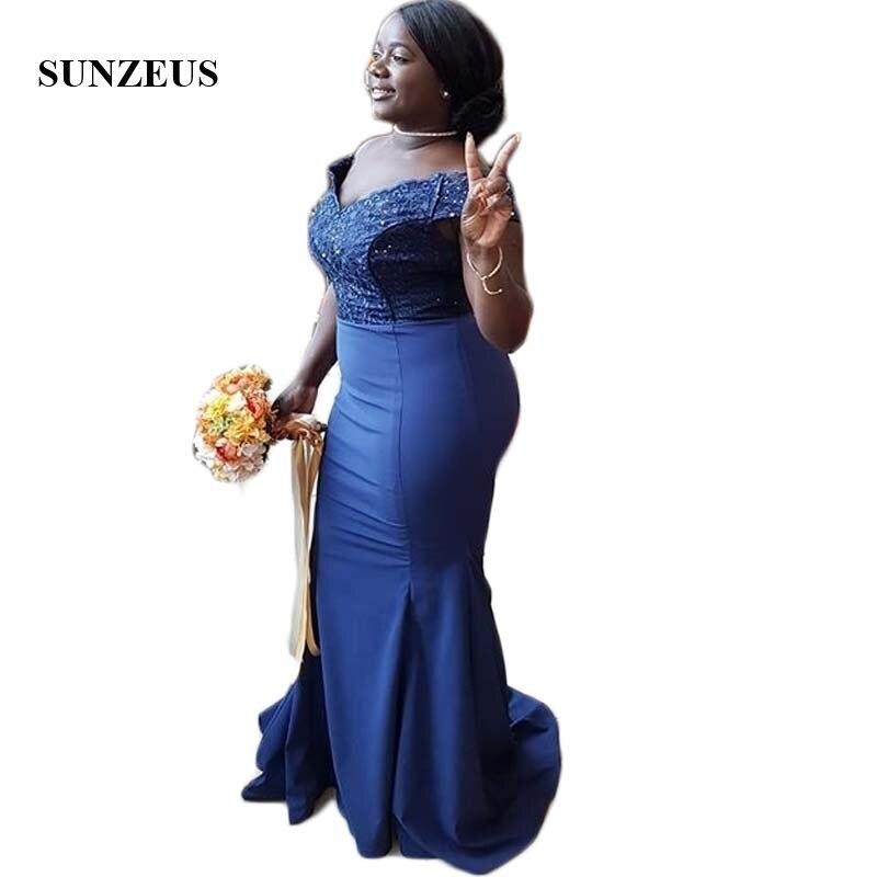 Темно синие Атлас африканские платья невесты Милая с плеча Длинные Свадебная вечеринка платье для Для женщин vestido longo; SBD141
