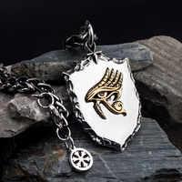 L'occhio di Horus collana per gli uomini in acciaio inox Scudo con Cooper collana del pendente hippop cultura di strada mygrillz