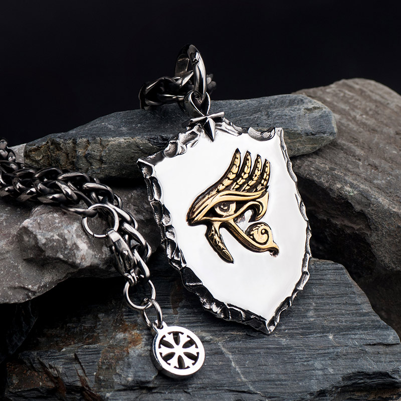 The Eye of Horus necklace for men  Shield  stainless steel  with Cooper pendant necklace hippop street culture mygrillzThe Eye of Horus necklace for men  Shield  stainless steel  with Cooper pendant necklace hippop street culture mygrillz