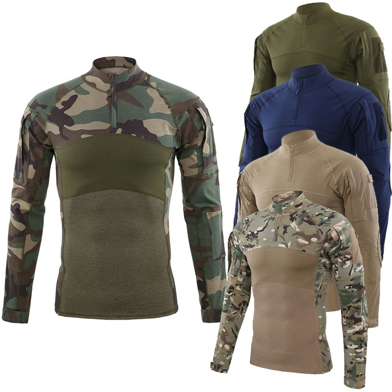 2019 Outdoor Camouflage T-shirt Tattico Di Airsoft Paintball Uomini Di Combattimento Dell'esercito Militare Camicette Uniforme Per Trekking Caccia Pesca Prezzo Moderato