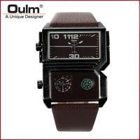 Oulm Brand Watch Men A Fashion Unique Designer Mens Watch Compass 2 Zone Time Rectangle Case