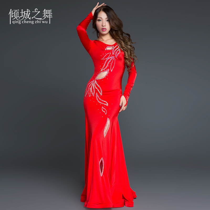 YC025 Women's Belly Dance Suit Spandex Material Do Not Include Any Accessory Belly Dance Set Dress Belly Dance Black , Red