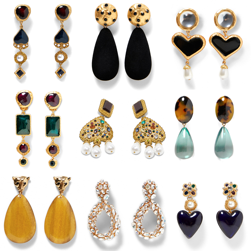 JUJIA ZA wholesale Statement resin earring Trendy Jewelry Elegant heart pendant Earrings For Women za mexed EARRINGS(China)