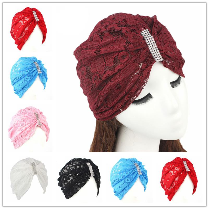 12PCS Fashion Women Muslim Islamic Lace Head Cap Crystal Scarft Hat Headwraps Headwear