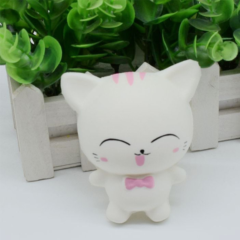 Kawaii Cartoon Small Cat Stress Relief Toys 9.5CM Simulation PU Animal White Small Cat Squishy Toys Slow Rising Squeeze Kids Toy