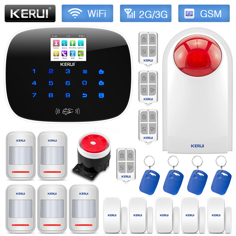 KERUI W193 RFID Wireless WCDMA GSM WIFI PSTN Antifurto Casa Sistema di Allarme di Sicurezza Display A Colori TFT Android iPhone IOS APP di controllo