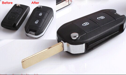 2PCS/Lot 2 Buttons Modified Folding Flip Remote Key shell Case For <font><b>Peugeot</b></font> 307 407 408 Citron With Groove ( Fit For <font><b>0536</b></font> Type ) image