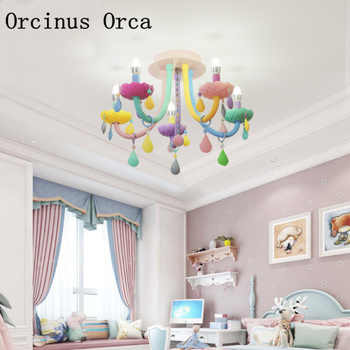 Creative Colorful Crystal ceiling lamp Princess Room Girl\'s Bedroom Children\'s Room Lights Cartoon LED Dream Glass ceiling lamp