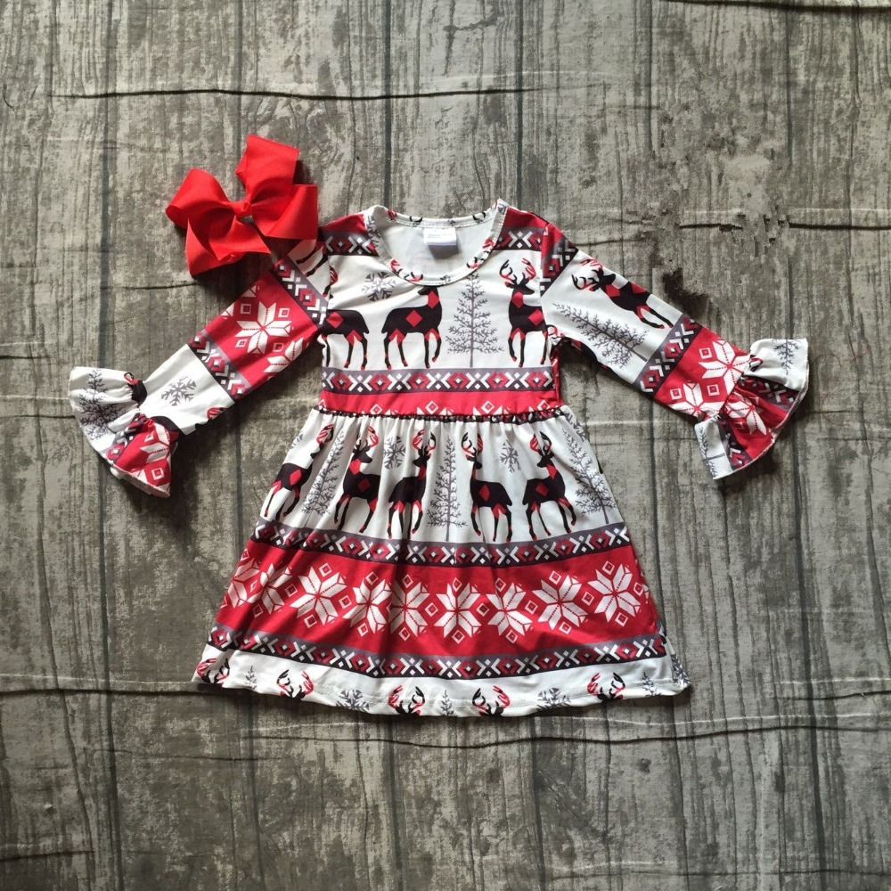 girls Christmas dress girls Christmas reindeer dress children red and black reindeer dress milk silk Christmas dress with bows gardman лейка металлическая 4 5 л розовая 34870 gardman