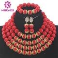 Rojo de moda Conjuntos de Collar para Las Mujeres 2017 WD932 Chunky Con Cuentas de Navidad Del Banquete de boda Joyería Conjunto Nuevo Envío Libre