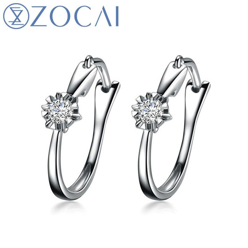 ZOCAI 0,11 КТ Сертифицированный H/SI Алмазный цветок лотоса крюк серьги круглой огранки 18 К белого золота E00909