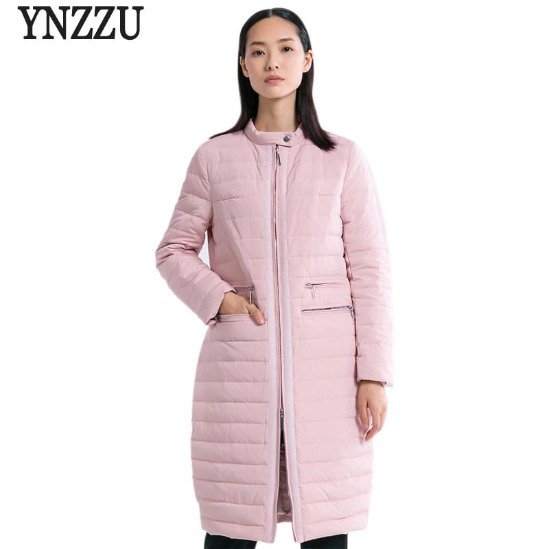 YNZZU New Winter Collection Women Duck   Down     Coat   Elegant Pink Long Female OL Jackets Autumn Outwears Women's Clothing O587