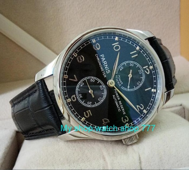 43mm PARNIS black dial Black Leather Watch Strap Automatic Self-Wind mechanical watches  Power Reserve Men's Watch 88