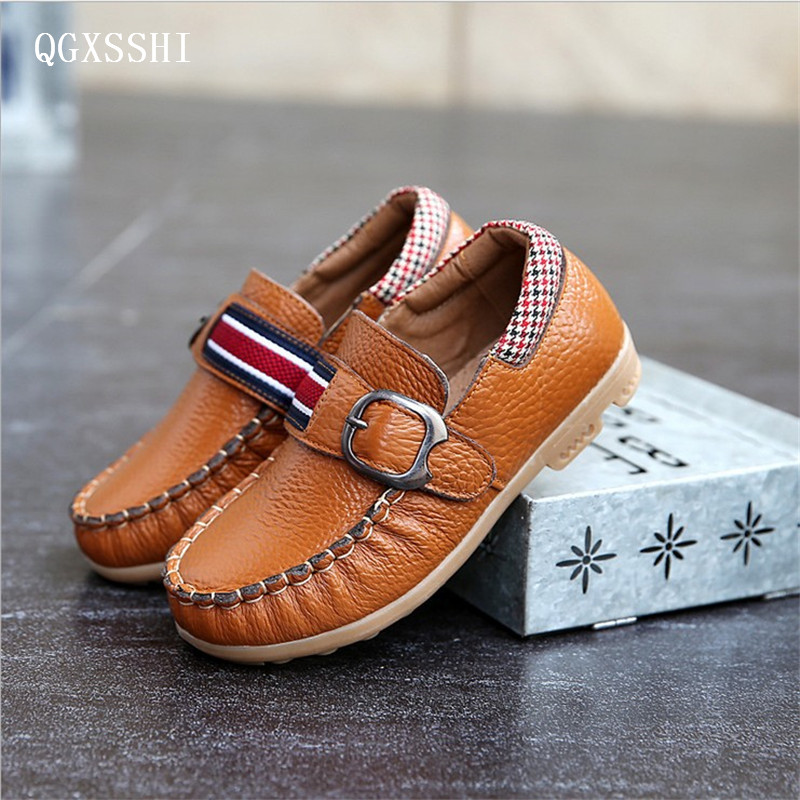 QGXSSHI Brand Genuine Leather children shoes Real cow leather boys shoes spring autumn kids breathable wear-resistant sneakers