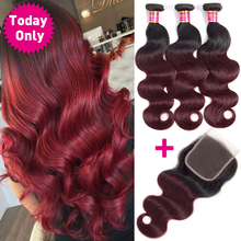 TODAY ONLY Burgundy Bundles With Closure Brazilian Body Wave With Closure Remy Ombre Brazilian Hair Weave Bundles With Closure