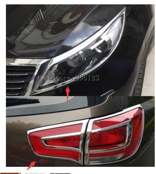 4 Pcs For Kia Sportage 2011 2012 2013 2014 2015 ABS Chrome Rear Tail Light Lamp