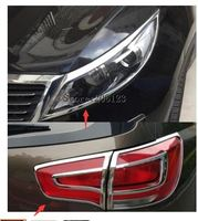 For Kia Sportage 2011 2012 2013 2014 2015 ABS Chrome Front Rear Tail Light Lamp Frame Cover Trim Accessories