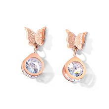Trendy Butterfly with CZ Rose Gold Color Drangle Earring for Women Stainless Steel Drop For Female Girl Jewelry
