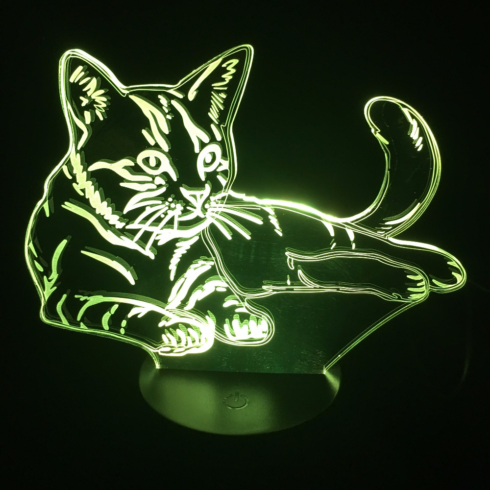 Luzes da Noite bonito gato deitado quarto candeeiro Colors : 7 Colors Change