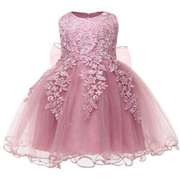 Vestido de princesa para niñas pequeñas, de flores para niño niña vestido elegante, 1 año de fiesta de cumpleaños, vestido de baile de encaje, Vestidos bordados para niños