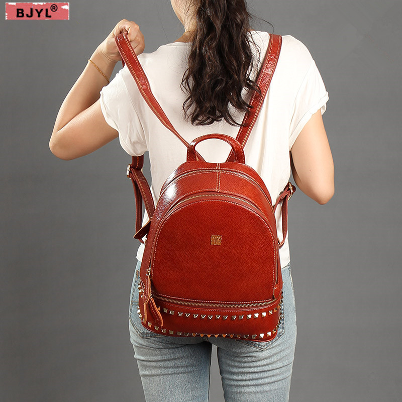 BJYL 2019 New rivet Women backpacks female shoulder bag genuine leather ladies retro backpack large capacity school travel bagsBJYL 2019 New rivet Women backpacks female shoulder bag genuine leather ladies retro backpack large capacity school travel bags