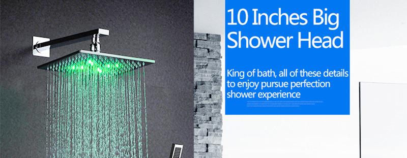 DCAN 10 Rainfall Shower Head System Polished Chrome Bath Wall Mounted Shower Faucet Bathroom Luxury Rain Mixer Shower Combo Set (1)