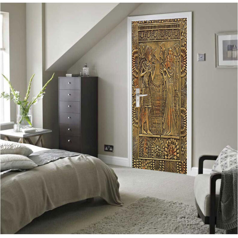 Wall Painting Egyptian Pharaoh 3D DIY Mural Wallpaper Background Living Room Bedroom Door Wallpaper Self-adhesive Stickers book knowledge power channel creative 3d large mural wallpaper 3d bedroom living room tv backdrop painting wallpaper