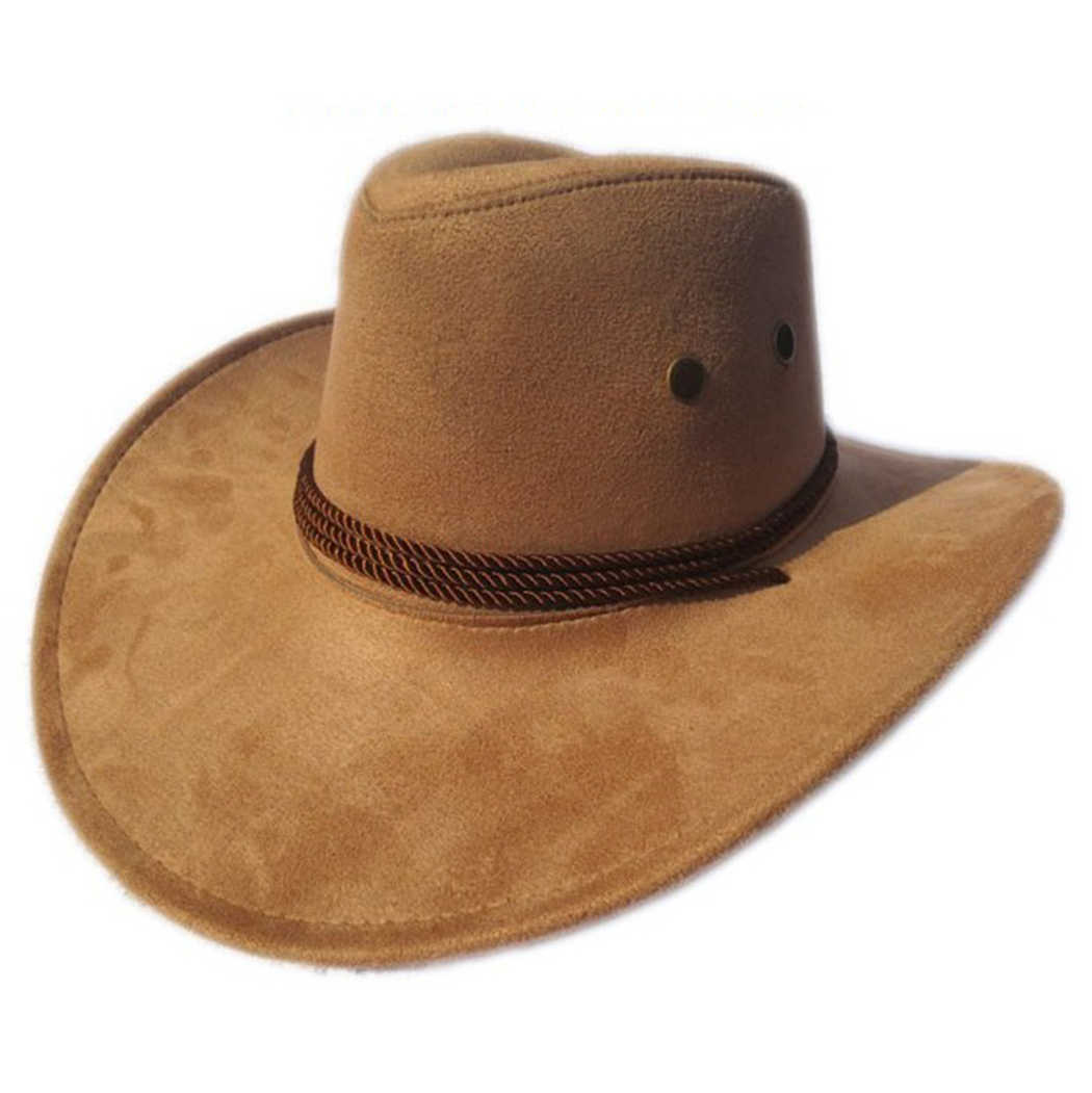 cb35abc3a4b524 ... Men's Cowboy Hat Outdoor Flat Brim Artificial Suede Wide Brim Hat  Western Cowboy Hat Cowboy Costume ...
