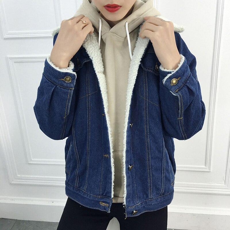 187193db403 2018 Women Autumn Winter Thick Lambs Wool Denim Jacket Korean Black Loose  Fleece Jean Coat Female Casual Warm Denim Outerwear