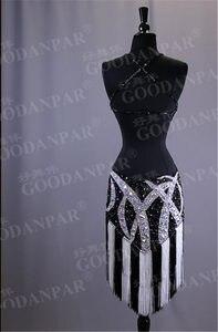 Image 2 - GOODANPAR לטיני ריקוד Dresse בנות גבירותיי נשים סקסי טאסל לטיני שמלות ללא שרוולים שלב ריקוד ללבוש סלסה רומבה סמבה Cha Cha